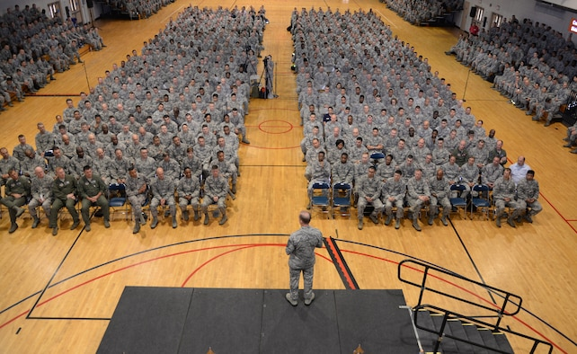 Chief Master Sgt. of the Air Force James Cody, speaks to members of Team Osan at an all call July 2, 2015, at Osan Air Base, Republic of Korea. As the Air Force's highest ranking enlisted Airman, Cody used the all call as an opportunity to share his insight about the USFK/ROK partnership, force management, the launch of the new enlisted performance reports, and other concerns. (U.S. Air Force photo by Staff Sgt. Benjamin Sutton/Released)