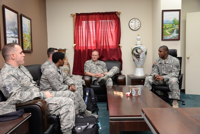 Chief Master Sgt. of the Air Force James Cody, sits down for a discussion with members of the Sexual Assault Response Coordinator team, June 30, 2015, at Osan Air Base, Republic of Korea. As the Air Force's highest ranking enlisted Airman, Cody spoke about the need to educate Airmen on ways to promote a trusting and caring professional environment for all members. (U. S. Air Force photo by Staff Sgt. Benjamin Sutton/Released)