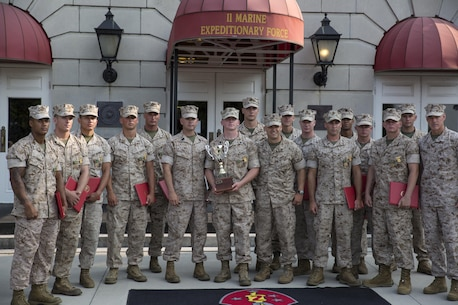 The winners of the 2nd Marine Division Infantry Rifle Squad Competition, a squad representing Alpha Company, 1st Battalion, 2nd Marine Regiment, poses for a photo after an award ceremony aboard Camp Lejeune, N.C., July 1, 2015. The squad was declared the best rifle squad in the 2nd Marine Division after competing in the Infantry Rifle Squad Competition, a three-day physical and mental challenge that pushed the Marines to their limits and tested their abilities to work together as a cohesive unit. (U.S. Marine Corps photo by Cpl. Michelle Reif/Released)