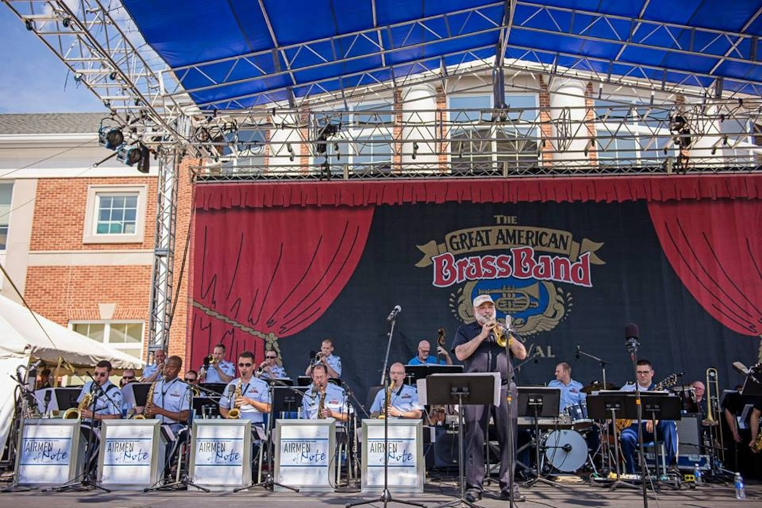 The incomparable Vinnie DiMartino performs with the Airmen of Note at the Great American Brass Band Festival in Danville, Kentucky. (U.S. Air Force photo/released)