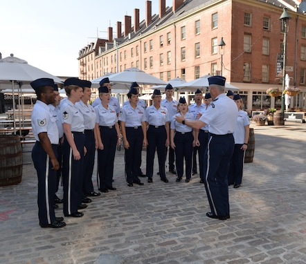 "The Singing Sergeants, led by conductor Col. Larry Lang, perform for Fox 5's ""Good Day New York"" show at the New York Seaport on July 3, 2015. This performance was part of a larger five-day tour in New York City to represent the Air Force on the nation's birthday (U.S. Air Force photo/1Lt. Esther Willett)."