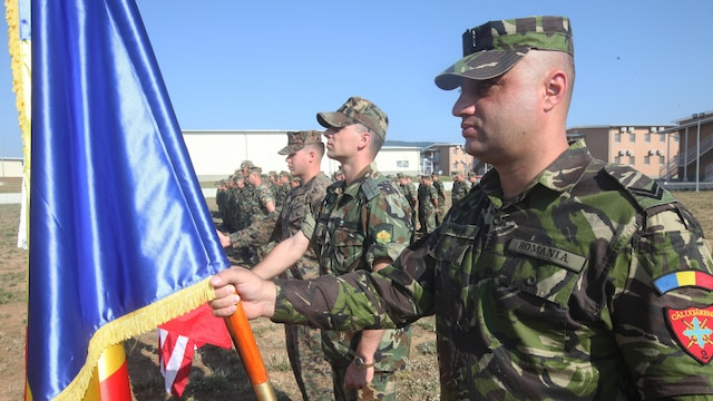 A Romanian soldier holds his nation's colors next to color bearers from NATO partners during the opening ceremony of Platinum Lion 15-3. The two-week training exercise is designed to strengthen the partnerships between the NATO nations and share knowledge to help improve their military skill sets.
