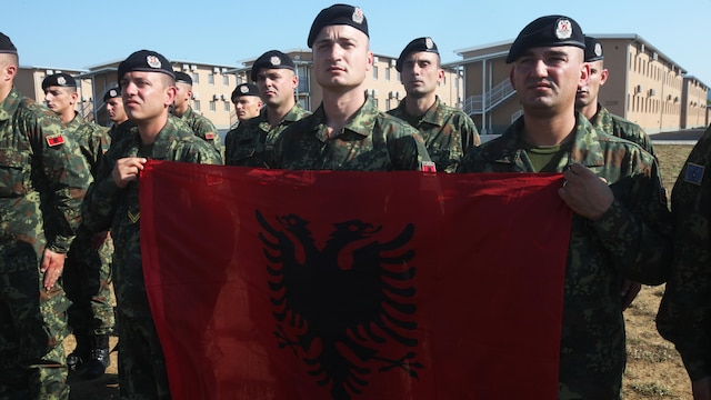 Albanian soldiers hold their nation's colors during the opening ceremony of Platinum Lion 15-3, June 6, 2015. The two-week training exercise is designed to strengthen the partnerships between the NATO nations and share knowledge to help improve their military skill sets.