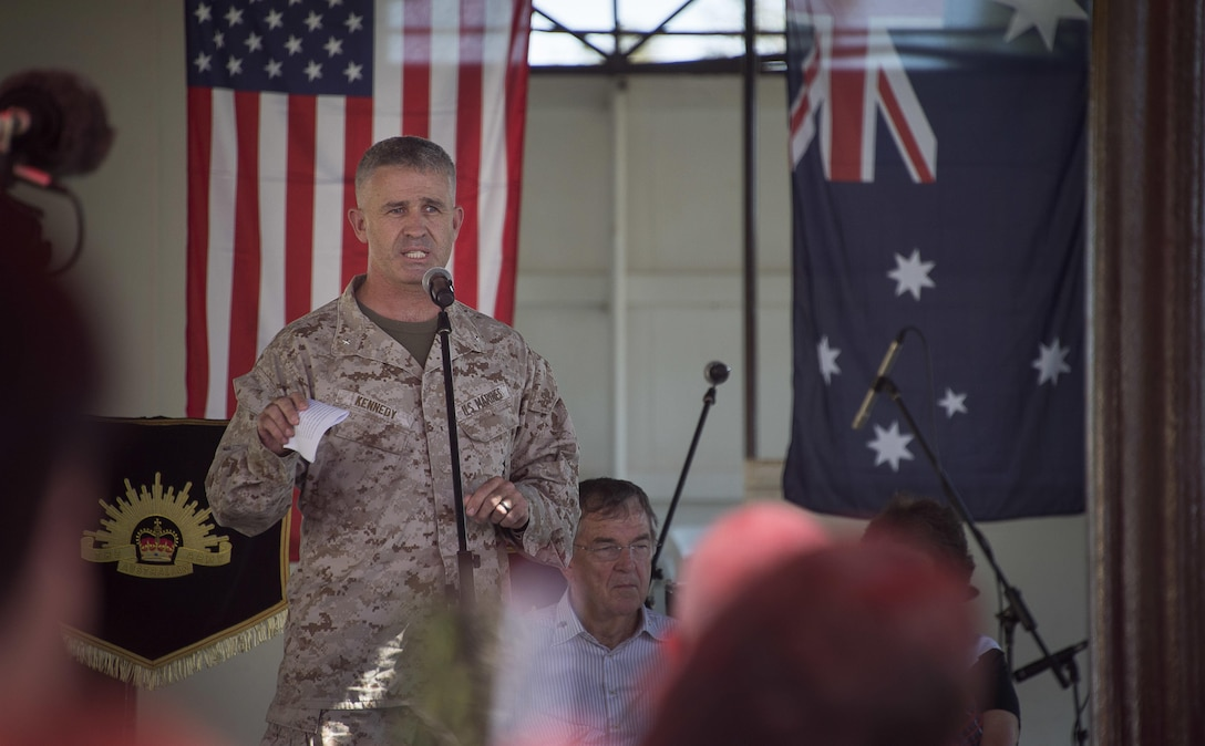 U.S. Marine Corps Brig. Gen. Paul Kennedy, 3rd Marine Expeditionary Brigade commanding general, makes an opening statement during Talisman Sabre 2015 opening day at the Darwin Showground, July 5, 2015. Talisman Sabre is a biennial exercise that provides an invaluable opportunity for approximately 30,000 U.S. and Australian service members to conduct operations in a combined, joint and interagency environment that will increase both countries' ability to plan and execute contingency responses, from combat missions to humanitarian assistance efforts. (U.S. Navy photo by Mass Communication Specialist 2nd Class Daniel M. Young/Released)