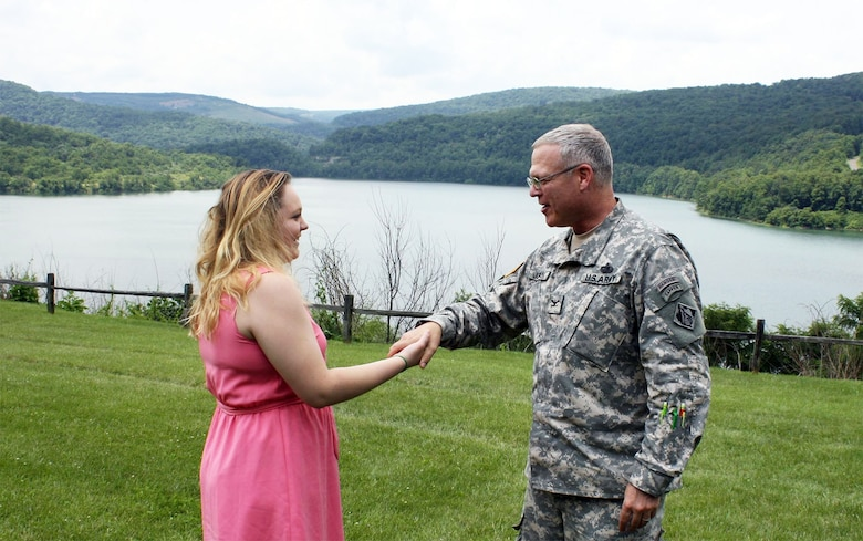 Ms. Karli Hakala at Jennings Randoph Lake was presented with the Army Engineer Memorial Award by Col. Trey Jordan, U.S. Army Corps of Engineers Baltimore District commander.