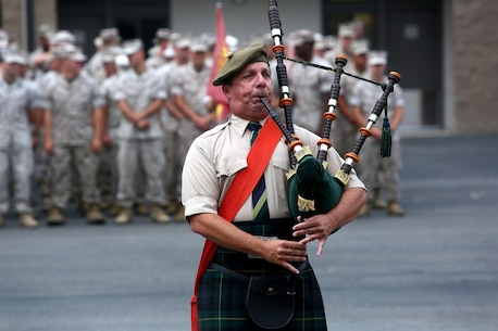 A bagpiper plays prior to the 1st Light Armored Reconnaissance Battalion 30th anniversary rededication ceremony aboard Marine Corps Base Camp Pendleton, Calif., July 1, 2015. After the ceremony, the Marines and Sailors of the battalion, part of the 1st Marine Division, hiked to a nearby beach and held the annual Highlander Games Warrior Night. (U.S. Marine Corps photo by Staff Sgt. Bobbie A. Curtis)