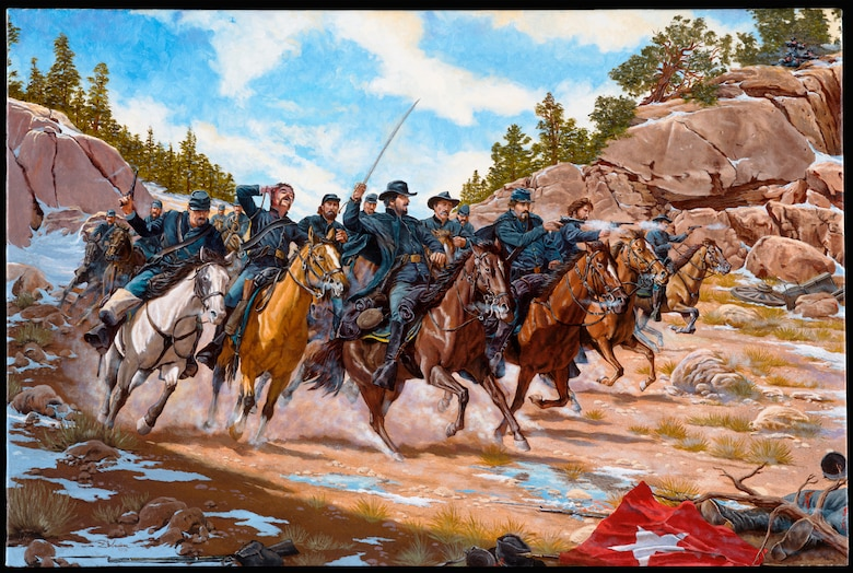 """""""Action at Apache Canyon,"""" by artist Domenick D'Andrea. The National Guard Bureau Heritage Series painting depicts the charge of Apache Canyon, which took place March 26, 1862. It was the first day of the first hostile engagement for the First Colorado Infantry Regiment. These men -- more than a thousand of Colorado Territory's townsmen, farmers, ranchers and miners -- were the state's first Citizen-Soldiers. These ancestors of the modern-day Colorado National Guard carried the fate of the United States in their sights. The charge took place on the first day of the Battle of Glorieta Pass, which lasted through March 28, 1862 and was the battle in which the Coloradoans helped permanently secure the western U.S. for the Union."""