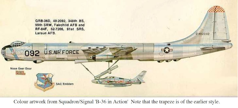 "Conair GRB-36D Peacemaker, tail 49-2092, 348th Bombardment Squadron, 99th Strategic Reconnaissance Wing (redesignated the 99th Bombardment Wing on Oct. 1, 1955). Color artwork from the Squadron and Signal ""B-36 in Action."" Note the trapeze is of the earlier style. (U.S. Air Force photo)"