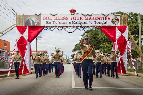 The U.S. Marine Corps Forces, Pacific Band performs during His Majesty's Birthday Parade in Nuku'alofa, Tonga July 8, 2015. The MARFORPAC Band travels throughout the Pacific region to promote community relations and interoperability between the U.S. and other countries.