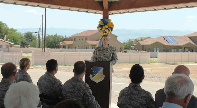 HOLLOMAN AIR FORCE BASE, N.M. -- District Commander Lt. Col. Patrick Dagon speaks at the groundbreaking ceremony to inaugurate the beginning of construction on the new medical clinic at the base, July 1, 2015.