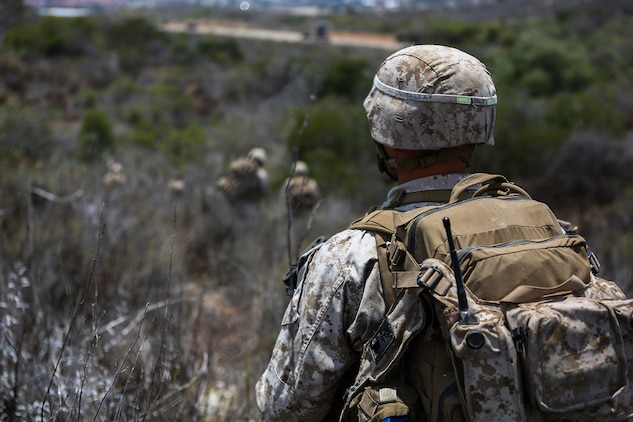 Lance Cpl. Devin Windell, a rifleman assigned to Company I, 3rd Battalion, 5th Marine Regiment, conducts patrol operations as part of the 1st Marine Division Super Squad Competition aboard Marine Corps Base Camp Pendleton, Calif.,  June 30, 2015. The Marines and Sailors tested their abilities to conduct infantry operations for the title of super squad.