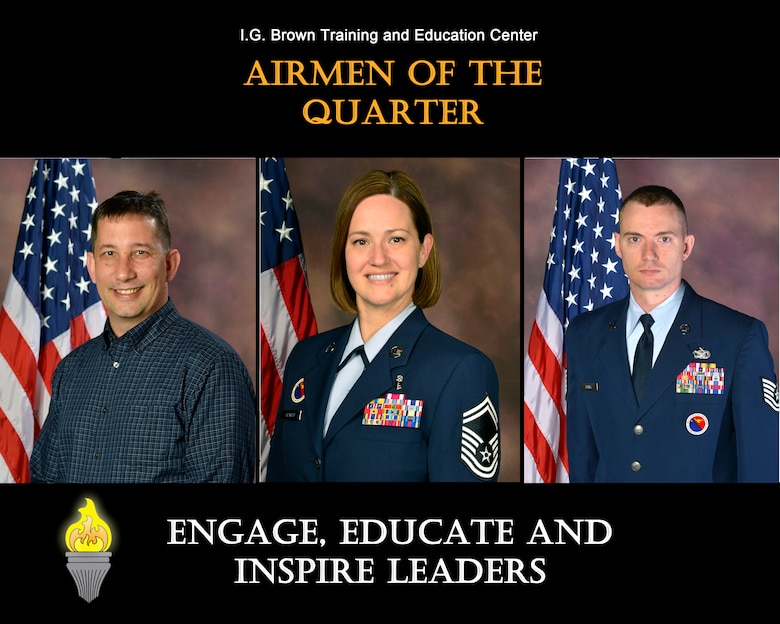 MCGHEE TYSON AIR NATIONAL GUARD BASE, Tenn. - From left, David Barlow, civillian of the quarter, Senior Master Sgt. Christine Shawhan, senior NCO of the quarter, and Tech. Sgt. Johnathan Kelley, NCO of the quarter, are recognized for their outstanding service at the I.G. Brown Training and Education Center here, April-June, 2015. (U.S. Air National Guard file photo illustration/Released)