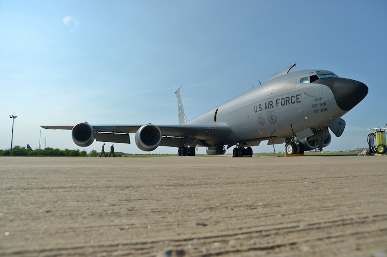 U.S. Air Force Lt. Col. Mark Hole, tanker detachment commander, assigned to the 185th Air Refueling Squadron, performs a walk around inspection of the aircraft before flying the last training mission of the 185 ARS on Tinker Air Force base, June 30, 2015, at Tinker Air Force base, Okla. The 185 ARS will be transitioning to Air Force Special Operations Command. (U.S. Air National Guard photo by Tech Sgt. Caroline Essex/Released)