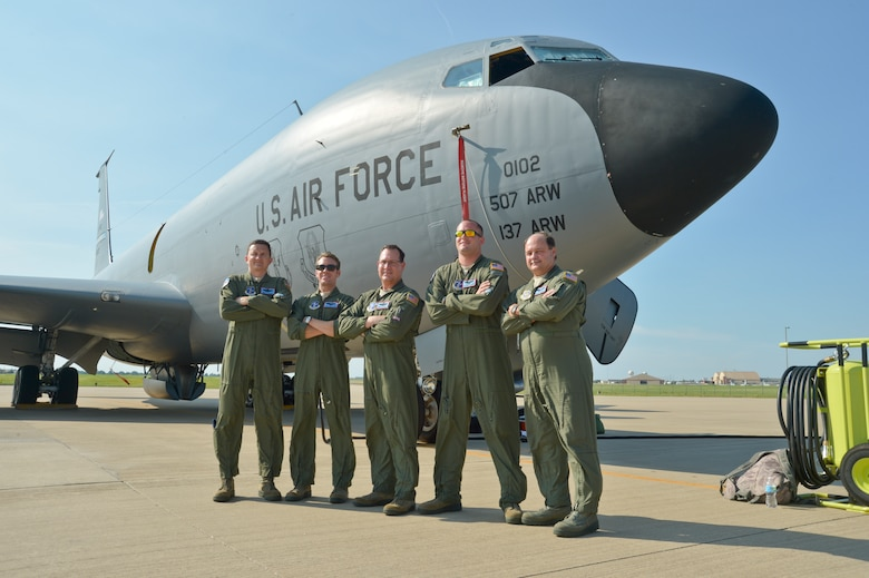 Aircrew from the 185th Air Refueling Squadron performed the final 137th Air Refueling Wing KC-135 Stratotanker mission June 30, 2015. The final crew consisted of (from left to right) Master Sgt. Ty Taylor, Capt. Thomas Bryceland, Lt. Col. Mark Hole, Staff Sgt. Samuel Wirstrom, and 137th Medical Group Flight Surgeon Lt. Col. Tim Cathey. (U.S. Air National Guard photo by Tech Sgt. Caroline Essex/Released)