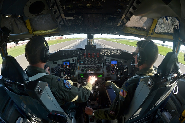 U.S. Air Force Lt. Col. Mark Hole, pilot, and Captain Thomas Bryceland, co-pilot, 185th Air Refueling Squadron, prepare for takeoff in the KC-135 Stratotanker for the last time during the last training mission of the 185 ARS on Tinker Air Force base, June 30, 2015 at Tinker Air Force base, Okla. The 185 ARS will be transitioning to Air Force Special Operations Command. (U.S. Air Force photo by Tech Sgt. Caroline Essex/Released)