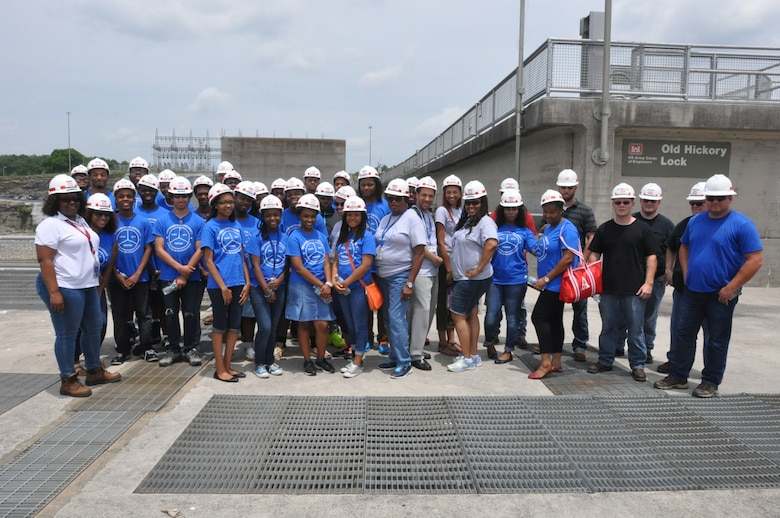 Old Hickory Hydropower trainees at the Old Hickory Lock and Dam in the Nashville District, provides students from the National Summer Transportation Institute program with a tour of the operations at the lock and dam June 25, 2015.