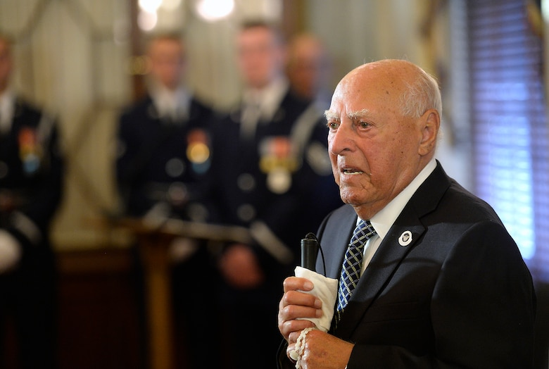 Second Lt. John Pedevillano, a WWII Army Air Corps B-17 bombardier, makes remarks after Air Force Vice Chief of Staff Gen. Larry O. Spencer and Sen. John McCain presented him the Presidential Unit Citation with one oak leaf cluster in Washington, D.C., July 7, 2015. Pedevillano accepted the award as the last survivor of his WWII unit. (U.S. Air Force photo/Scott M. Ash)