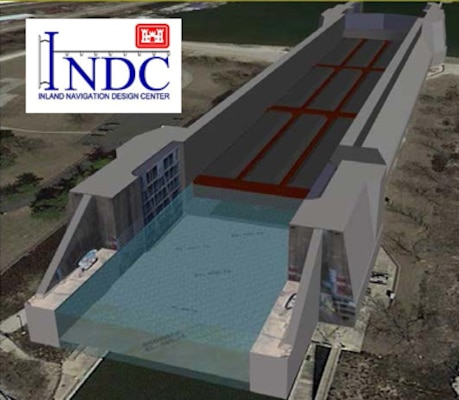 This 3D model of Rock Island District's Brandon Road Lock in Chicago, Illinois, developed by the INDC, is used during online webinars to illustrate operations and maintenance needs to Corps staff who have never seen the facility in real-life.