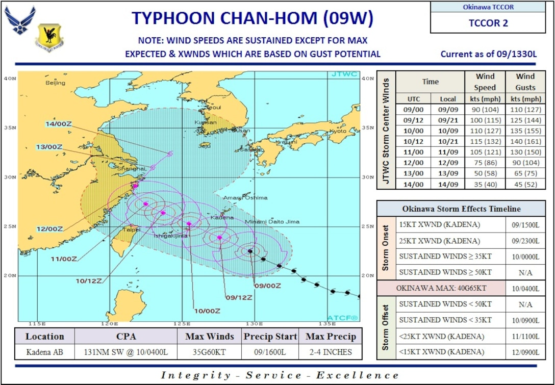 Typhoon Chan-Hom forecast timeline. (Current as of 2 p.m. July 9, 2015)