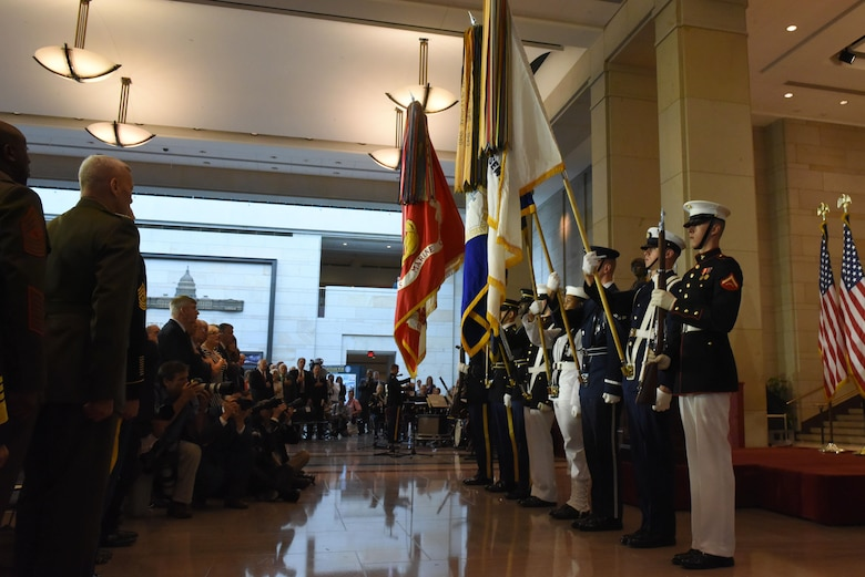 The Joint Service Color Guard presents the colors at the Congressional Commemoration for the 50th Anniversary of the Vietnam War July 8, 2015, in the Emancipation Hall of the U.S. Capitol in Washington. The commemoration honored all service members who fought and served during the Vietnam War. (U.S. Air Force photo/Staff Sgt. Carlin Leslie)