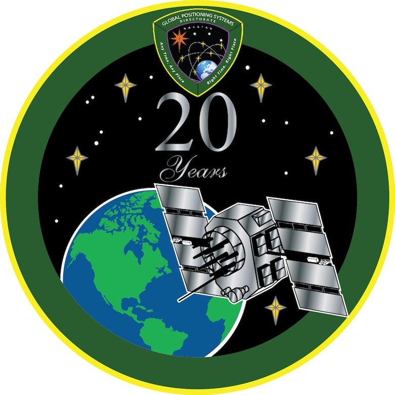 The Global Positioning Systems Directorate at the Space and Missile Systems Center, located at Los Angeles Air Force Base in El Segundo, Calif. marks the 20th anniversary of Full Operational Capability of GPS with a commemorative emblem. (Air Force graphic/William Chavez)