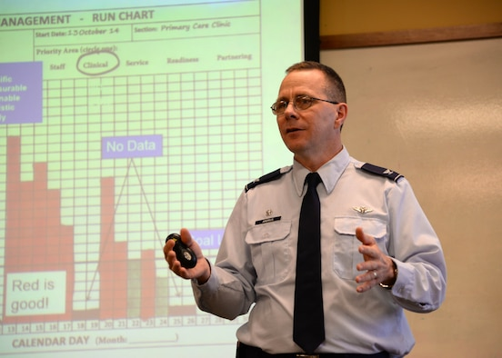 Col. (Dr.) John Andrus, 59th Medical Group commander, speaks during a Continuous Improvement Professionals meeting, April 17, 2015 at the University of Texas San Antonio. Andrus spoke about the Lean Daily Management process which aims to identify and solve problems in the work section. (U.S. Air Force photo/Staff Sgt. Jerilyn Quintanilla)