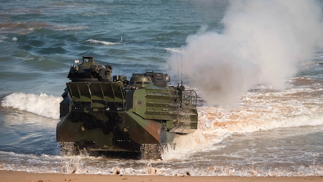 An assault amphibious vehicle, assigned to the 31st Marine Expeditionary Unit, transits onto Gold Beach for an amphibious assault during Talisman Sabre 2015 at Fog Bay, Australia, July 11, 2015. Talisman Sabre is a biennial exercise that provides an invaluable opportunity for nearly 30,000 U.S. and Australian defense forces to conduct operations in a combined, joint and interagency environment that will increase both countries' ability to plan and execute a full range of operations from combat missions to humanitarian assistance efforts.
