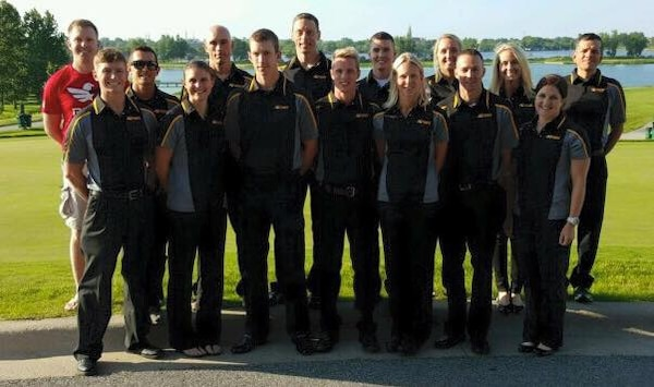 1st Lt. Marcus Farris' (first row, third from left), quality assurance representative in the USACE – Alaska District's Construction Division, competed for the first time with the All-Army Triathlon team June 7 in the 2015 U.S. Armed Forces Championships hosted by the Leon's World Fastest Triathlon at Hammond, Indiana. According to the race results, he finished 17th out of 40 male competitors from all four branches, including members from the Canadian military. Farris completed the Olympic standard triathlon distances of a 1.5 km swim, 40 km bike ride and 10 km run just under two hours. He trailed the leader by nine minutes.