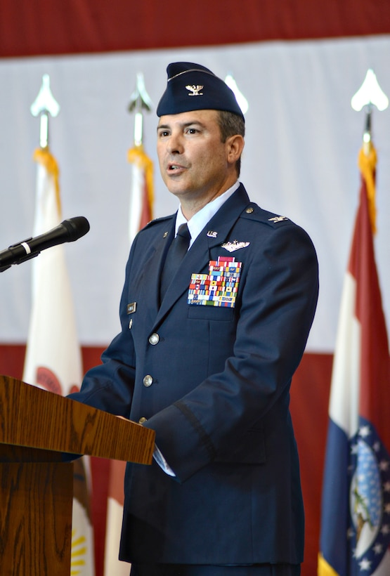 Col. David Gaedecke speaks to members of the Tinker community after assuming command of the 552nd Air Control Wing July 1.  As commander, Col. Gaedecke is responsible for the fleet of E-3 Airborne Warning and Control System aircraft and Control and Reporting Centers and leads more than 4,000 men and women at three bases. (Air Force photo by Kelly White/Released)