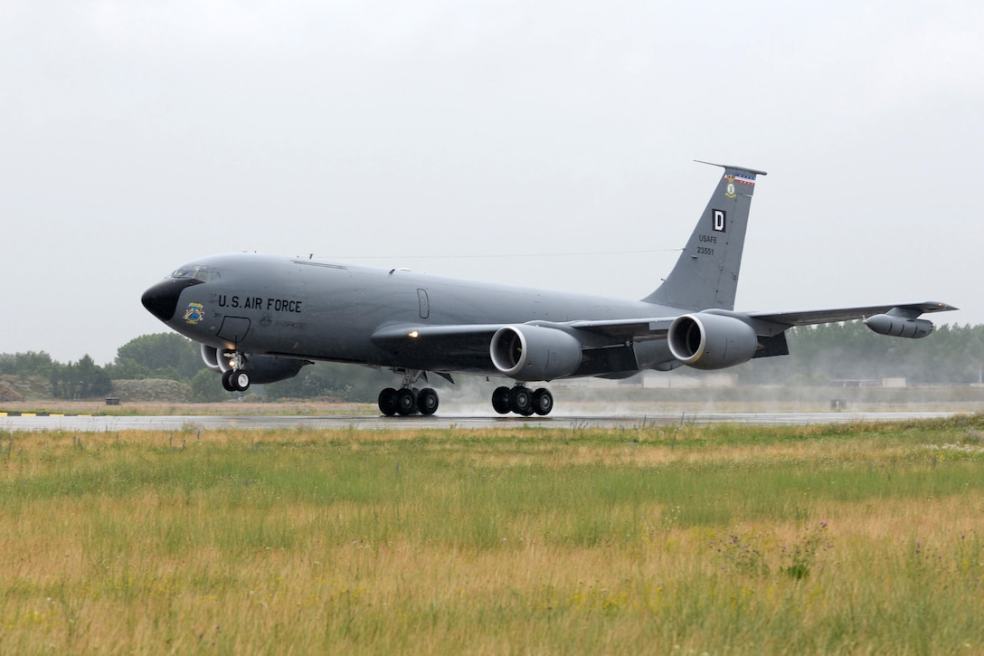 A U.S. Air Force KC-135 Stratotanker lands June 24, 2015, during air refueling familiarization training on Kecskemét air base, Hungary. Hungarian, U.S. and Swedish air force personnel met for a two-week familiarization period enabling the Hungarian JAS-39 Gripen pilots to successfully perform air refueling for the first time. (U.S. Air Force photo by Senior Airman Kate Thornton/Released)