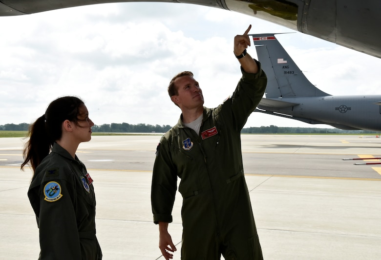 Airmen with the 121s Air Refueling Wing hosted Madalyn Charles, a 13-year-old from London, Ohio, as Pilot for the Day June 18, 2015 at Rickenbacker Air National Guard Base. Charles was diagnosed with Tricuspid Atresia, a form of congenital heart disease, after she was born and was chosen to spend the day experiencing what it woul be like to be in the Air National Guard. (U.S. Air National Guard photo by Airman Ashley Williams/Released)