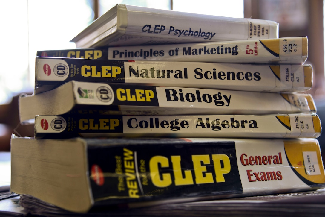 Various College Level Examination Program and Defense Activity for Non-Traditional Education Support study materials are located in the base library on Osan Air Base, Republic of Korea on July 2, 2015. Depending on the subject, between three and 12 credit hours can be earned for CLEP and DANTES testing, saving weeks of class time. (U.S. Air Force photo/Senior Airman Kristin High)