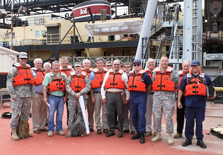 Col. William H. Graham, commander of the U.S. Army Corps of Engineers' North Atlantic Division toured the McFarland, a deep draft hopper dredge owned and operated by the USACE Philadelphia District on June 30, 2015.
