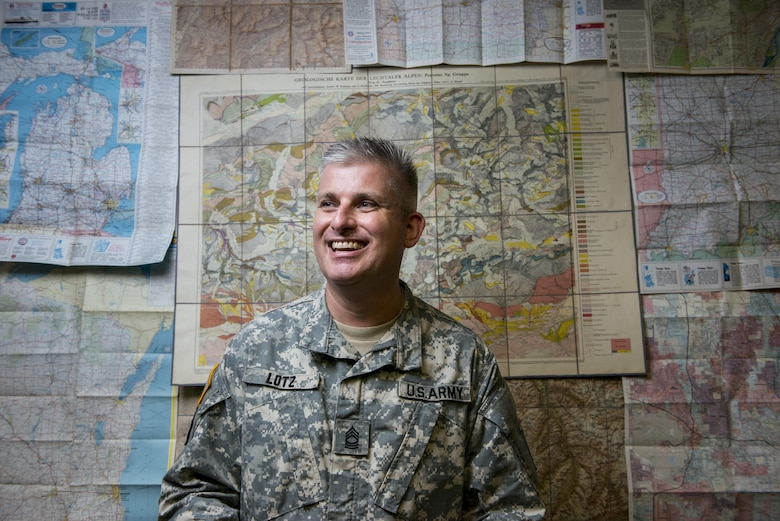 Master Sgt. Steven Lotz, geospatial analyst for the 416th Theater Engineer Command (TEC), is the first member of the newly-formed geospatial cell added to the TEC as part of the command's redesign process. The geospatial cell is looking for officers, warrant officers and senior noncommissioned officers to bring onto the team. (U.S. Army photo by Master Sgt. Michel Sauret)