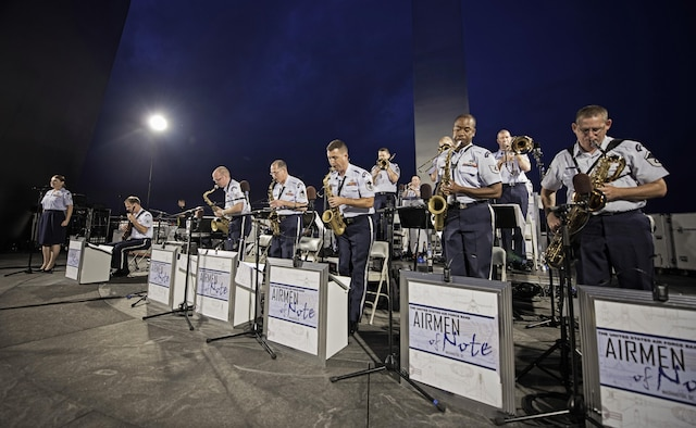 The Airmen of Note performs at the Air Force Memorial in Arlington, Va., July 4, 2015, in celebration of Independence Day. (U.S. Air Force Photo/Airman 1st Class Philip Bryant)