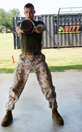 Marines test their resiliency during Marine Corps Logistics Base Albany's first High Intensity Tactical Training tactical athlete competition at Boyett Park here, July 14.