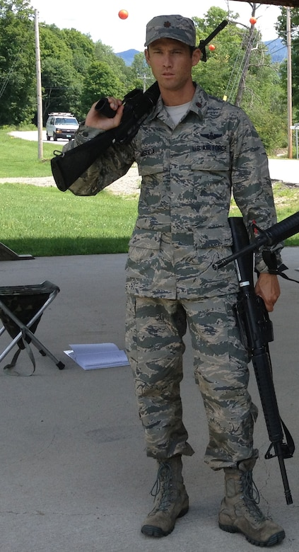 Maj. Mike Masuda, C-17 pilot with the 313th Airlift Squadron, poses for a photo while qualifiying for Team USA Military last year at Camp Ethan Allen Training Site in Vermont. Masuda made the team and subsequently won the gold medal in the novice category of the Interallied Confederation of Reserve Officers, or CIOR, Military Competition. He will compete in the experienced category of the military pentathlon competition this year Aug. 3-9 in Shumen, Bulgaria.