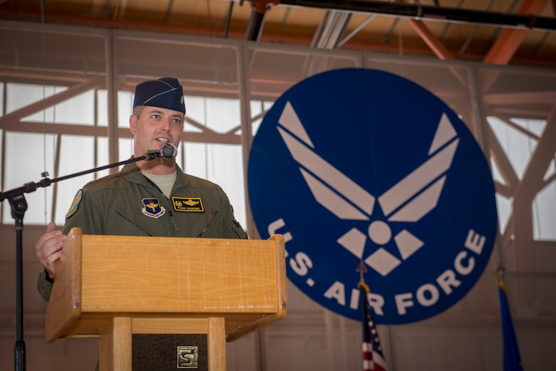 Lt. Col. Andrew Caggiano, 314th Fighter Squadron commander, addresses his Airmen, family and friends at the activation of the 314th FS at Holloman Air Force Base, N.M., on July 14. The 54th Fighter Group, a detachment of the 56th Fighter Wing at Luke Air Force Base, Ariz., activated the 314th Fighter Squadron here. Their mission is to produce the world's greatest F-16 Fighting Falcon fighter pilots and deploy combat mission ready Airmen. The 314th FS was first activated July 6, 1942. During that time, the unit deployed to serve with Ninth Air Force in Egypt, where it took part in the Western Desert Campaign of World War II. Today's 314th FS will train the next generation of F-16 Fighting Falcon pilots over the Holloman and White Sands Missile Range training ranges. (U.S. Air Force photo by Senior Airman Aaron Montoya)