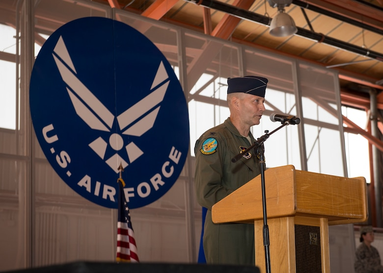 Col. Jeffrey Jenssen, 54th Fighter Group commander, delivers the opening comments before the activation of the 314th Fighter Squadron at Holloman Air Force Base, N.M., on July 14. Lt. Col. Andrew Caggiano, now the 314th FS commander, will lead a squadron of over 30 members in their goal of creating the world's greatest F-16 Fighting Falcon fighter pilots. (U.S. Air Force photo by Senior Airman Aaron Montoya)