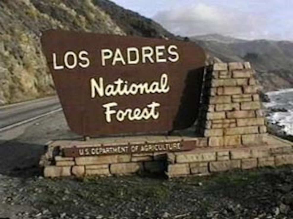 Entrance sign at the Los Padres National Forest, site of the former Dry Canyon Artillery Range.