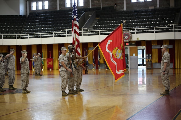 The Ground Combat Element Integrated Task Force renders honors to Brig. Gen. Robert Castellvi, deputy commanding general, II Marine Expeditionary Force, and reviewing officer, during the GCEITF deactivation ceremony at the Goettge Memorial Field House, Marine Corps Base Camp Lejeune, North Carolina, July 14, 2015. From October 2014 to July 2015, the GCEITF conducted individual and collective level skills training in designated ground combat arms occupational specialties in order to facilitate the standards-based assessment of the physical performance of Marines in a simulated operating environment performing specific ground combat arms tasks. (U.S. Marine Corps photo by Sgt. Alicia R. Leaders/Released)