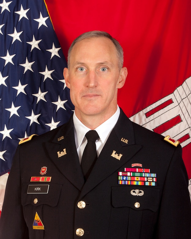 Colonel Jason A. Kirk is the Commander and District Engineer of the U.S. Army Corps of Engineers, Jacksonville District. Colonel Kirk assumed command on July 17, 2015.