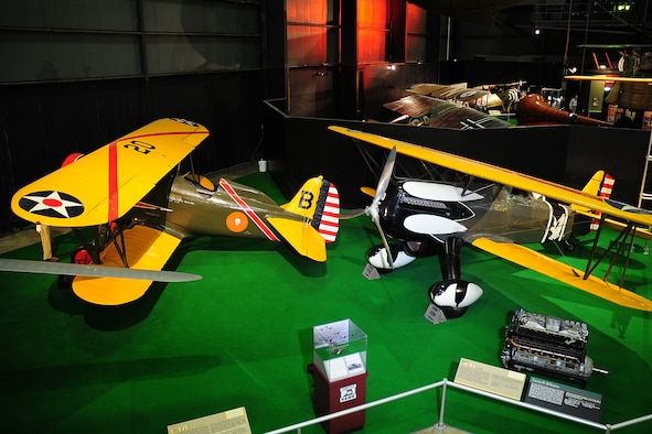 DAYTON, Ohio -- Boeing P-12E(left) and the Curtiss P-6E Hawk(right) in the Early Years Gallery at the National Museum of the United States Air Force. (U.S. Air Force photo)