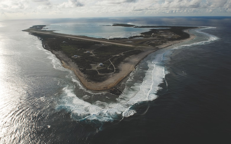Pacific Air Forces, in coordination with the Hawaii Air National Guard, evacuated more than 125 Department of Defense members from Wake Island, July 15, 2015. Wake Island is a crucial location for maintaining peace and stability in the Indo-Asia-Pacific region, functioning as a divert airfield or primary stopping point for cross-Pacific military flights.  (U.S. Navy photo by Mass Communication Specialist 3rd Class Josue L. Escobosa/Released)