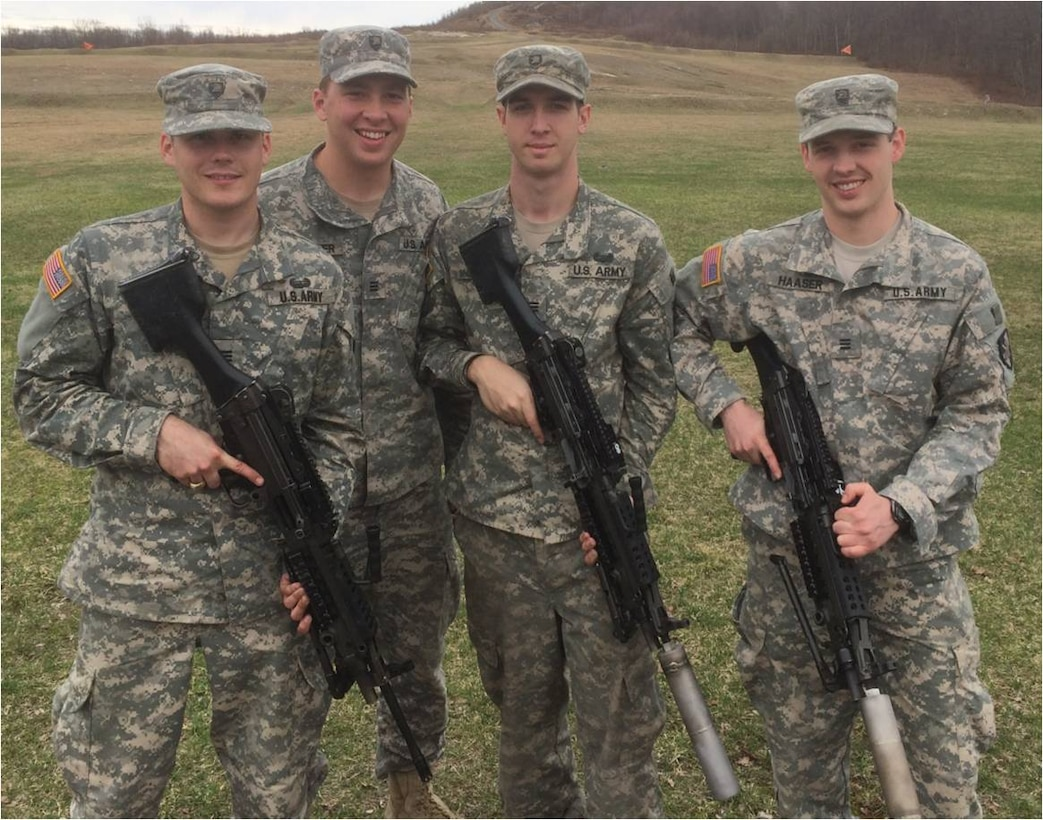 Winners of the 2015 Massachusetts Institute of Technology West Point Soldier Design Competition, from left, are 2nd. Lt. Connor Mcleod, 2nd Lt. Chris Kolster, 2nd Lt. Matt Shoenberger and 2nd Lt. Conor Haaser.  The team created a functional suppressor for the M249 Squad Automatic Weapon, aimed at reducing the auditory and visual signature of the weapon in combat.