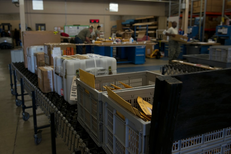 Packages being processed by the traffic management office rest in the packaging and crating section of the cargo-movement warehouse July 9, 2015, at Moody Air Force, Ga. The warehouse stays organized using three sections to track packages: inbound, outbound and packing and crating. (U.S. Air Force photo by Airman 1st Class Kathleen D. Bryant/Released)