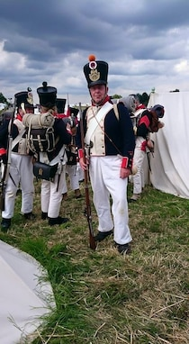 U.S. Army Reserve Col. Paul Rosewitz poses for a picture among re-enactors who traveled to Waterloo, Belgium, June 18-21 to re-enact the 200th anniversary of Napoleon's defeat. (Photo courtesy Kathryn Rosewitz)