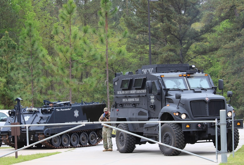 The 81st Regional Support Command participated in a mass casualty exercise on Fort Jackson, S.C., April 7, 2015 which involved the Fort Jackson and local community.  Richland County Sheriff's Department Special Response Team (SRT) arrived to the 81st RSC to clear the building during the mass causality exercise.   The SRT involves two seven-person teams.  A member of the Medic Team accompanies each entry team in high-risk operations and they've  been trained to address barricaded suspects, hostage scenarios, high risk warrants, engage in active counter measures, crowd control, and hostile environmental situations.