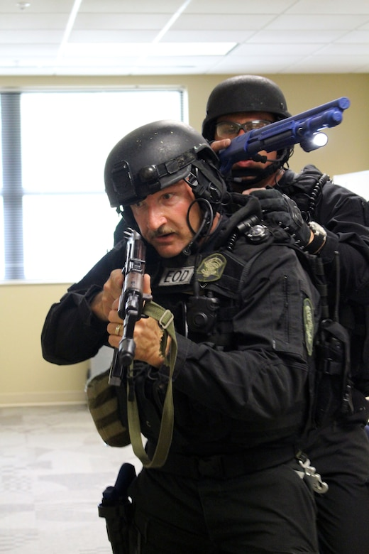 The 81st Regional Support Command participated in a mass casualty exercise on Fort Jackson, S.C., April 7, 2015 which involved the Fort Jackson and local community.  Richland County Sheriff's Department Special Response Team (SRT) arrived to the 81st RSC to clear the building during the mass causality exercise.