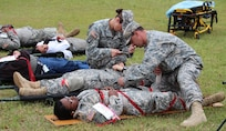 The 81st Regional Support Command participated in a mass casualty exercise on Fort Jackson, S.C., April 7, 2015 which involved the Fort Jackson and local community. After the Richland County Sheriff's Department Special Response Team cleared the building, victims from the active shooters were triage and evacuated by Fort Jackson and Columbia medical personnel and firemen to several hospital around the Fort Jackson and Columbia  area.